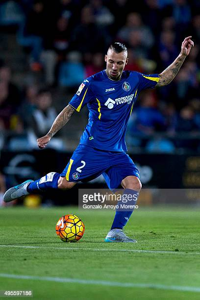 Alexis Ruano of Getafe CF controls the ball during the La Liga match between Getafe CF and FC Barcelona at Coliseum Alfonso Perez on October 31 2015...