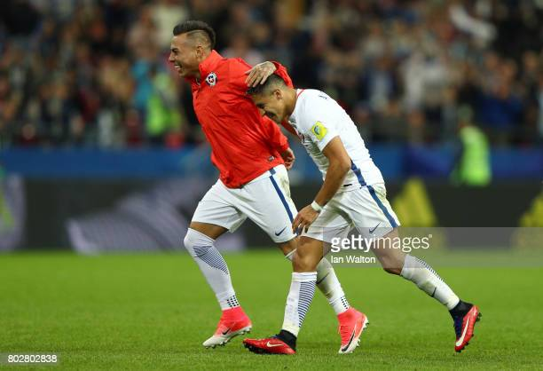 Alexis Sanchez and Leonardo Valencia of Chile celebrate their victory through the penalty shootout in the FIFA Confederations Cup Russia 2017...