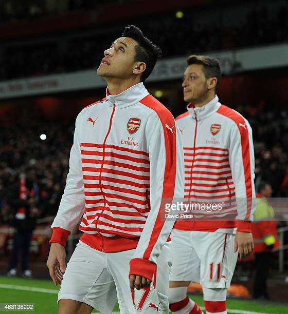 Alexis Sanchez and Mesut Ozil of Arsenal before the match between Arsenal and Leicester City in the Barclays Premier League at Emirates Stadium on...