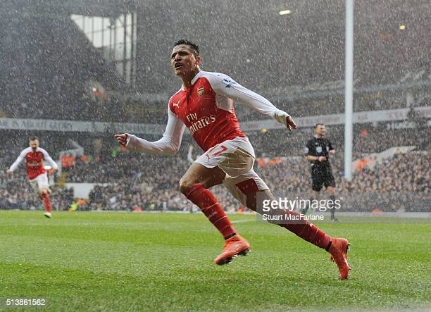 Alexis Sanchez celebrates scoring the 2nd Arsenal goal during the Barclays Premier League match between Tottenham Hotspur and Arsenal at White Hart...