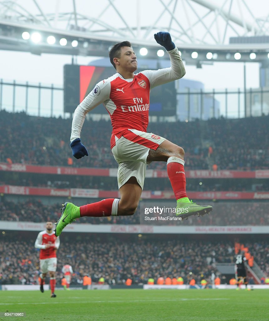 Alexis Sanchez celebrates scoring the 2nd Arsenal goal during the Premier League match between Arsenal and Hull City at Emirates Stadium on February 11, 2017 in London, England.