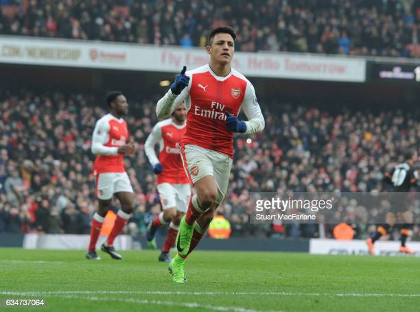 Alexis Sanchez celebrates scoring the 2nd Arsenal goal during the Premier League match between Arsenal and Hull City at Emirates Stadium on February...