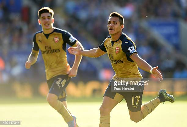 Alexis Sanchez of Afsenal celebrates after scoring his third goal during the Barclays Premier League match between Leicester City and Arsenal at the...