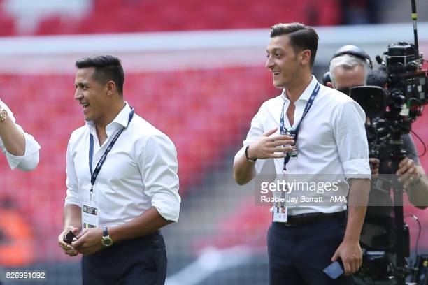 Alexis Sanchez of Arsenal and Mesut Ozil of Arsenal during the The FA Community Shield between Chelsea and Arsenal at Wembley Stadium on August 6...