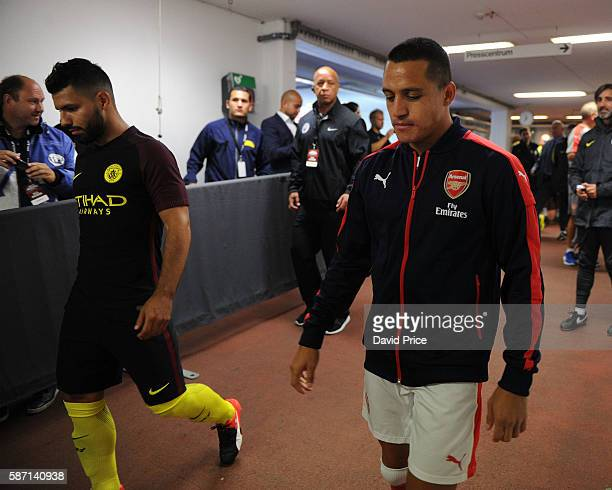Alexis Sanchez of Arsenal and Sergio Aguero of Man City in the tunnel before the match between Arsenal and Manchester City at Ullevi on August 7 2016...