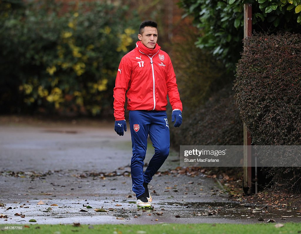Alexis Sanchez of Arsenal before a training session at London Colney on January 10, 2015 in St Albans, England.