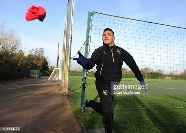 Alexis Sanchez of Arsenal before a training session at London Colney on November 23 2015 in St Albans England