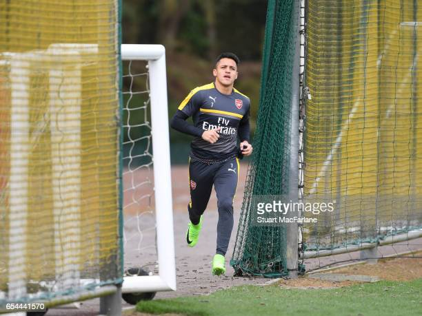 Alexis Sanchez of Arsenal before a training session at London Colney on March 17 2017 in St Albans England