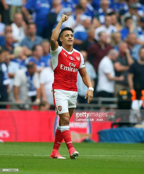Alexis Sanchez of Arsenal celebrates after he scores to make it 10 during the Emirates FA Cup Final match between Arsenal and Chelsea at Wembley...