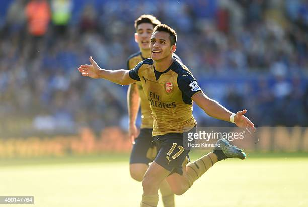 Alexis Sanchez of Arsenal celebrates after scoring his third goal during the Barclays Premier League match between Leicester City and Arsenal at the...