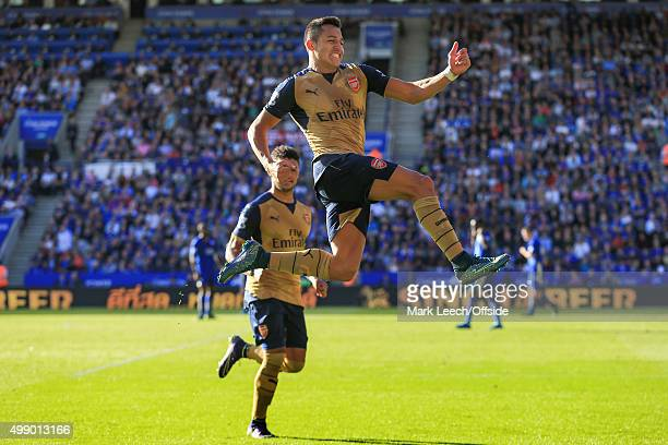 Alexis Sanchez of Arsenal celebrates scoring a goal to make it 14 during the Barclays Premier League match between Leicester City and Arsenal at the...