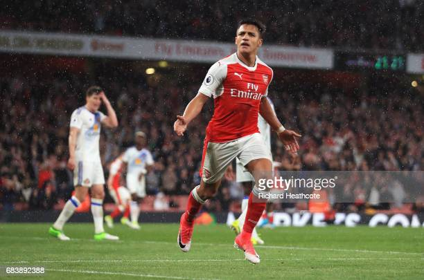 Alexis Sanchez of Arsenal celebrates scoring his sides second goal during the Premier League match between Arsenal and Sunderland at Emirates Stadium...