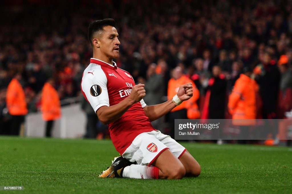 Alexis Sanchez of Arsenal celebrates scoring the 2nd arsenal goal during the UEFA Europa League group H match between Arsenal FC and 1. FC Koeln at Emirates Stadium on September 14, 2017 in London, United Kingdom.