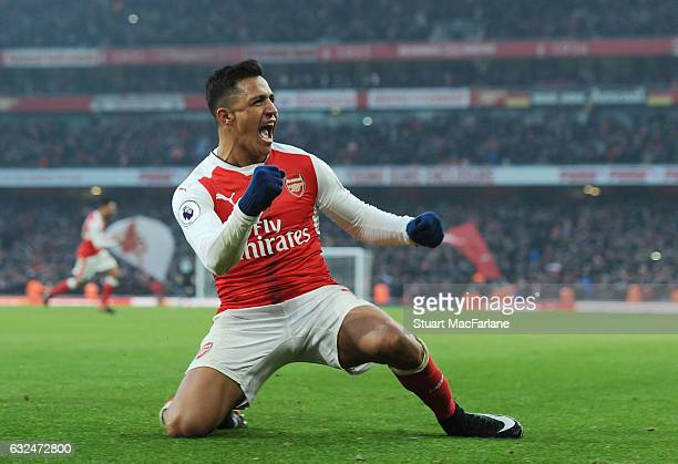 Alexis Sanchez of Arsenal celebrates scoring the 2nd goal during the Premier League match between Arsenal and Burnley at Emirates Stadium on January...