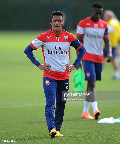 Alexis Sanchez of Arsenal during a training session at London Colney on September 12 2014 in St Albans England