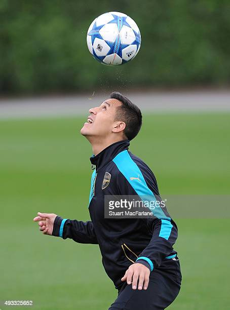 Alexis Sanchez of Arsenal during a training session at London Colney on October 19 2015 in St Albans England
