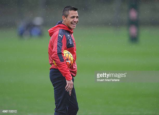 Alexis Sanchez of Arsenal during a training session at London Colney on November 7 2015 in St Albans England