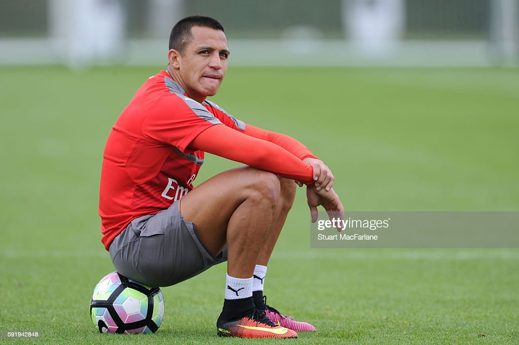 Alexis Sanchez of Arsenal during a training session at London Colney on August 19 2016 in St Albans England
