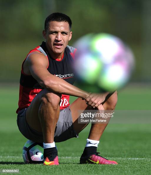 Alexis Sanchez of Arsenal during a training session at London Colney on September 23 2016 in St Albans England