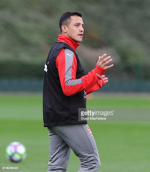 Alexis Sanchez of Arsenal during a training session at London Colney on October 21 2016 in St Albans England