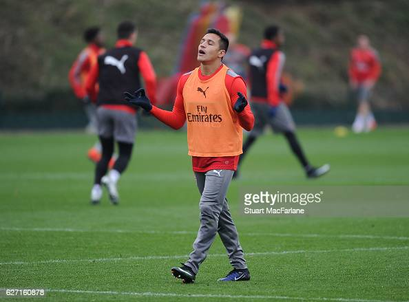 Alexis Sanchez of Arsenal during a training session at London Colney on December 2 2016 in St Albans England