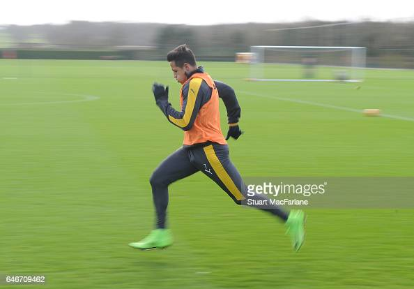 Alexis Sanchez of Arsenal during a training session at London Colney on March 1 2017 in St Albans England
