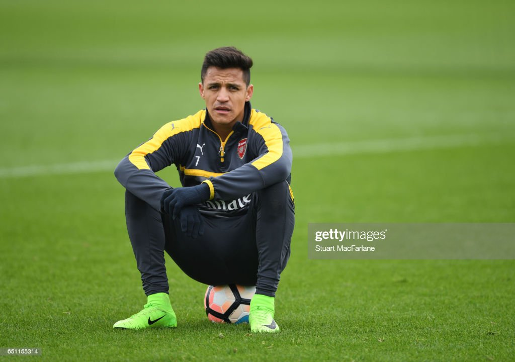Alexis Sanchez of Arsenal during a training session at London Colney on March 10, 2017 in St Albans, England.