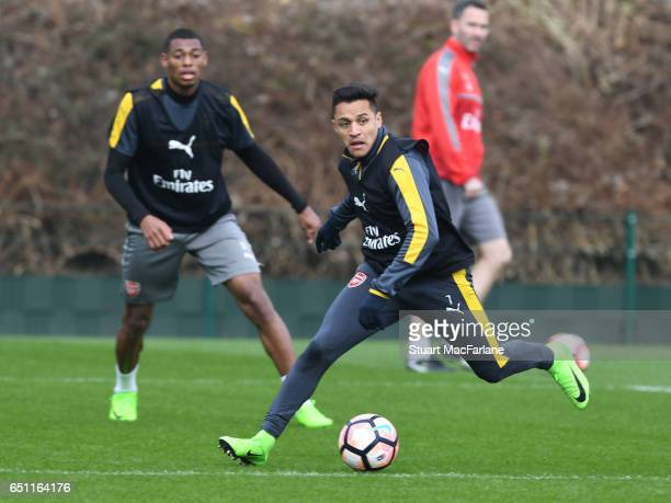 Alexis Sanchez of Arsenal during a training session at London Colney on March 10 2017 in St Albans England