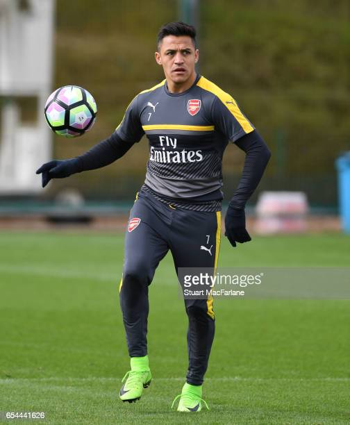 Alexis Sanchez of Arsenal during a training session at London Colney on March 17 2017 in St Albans England