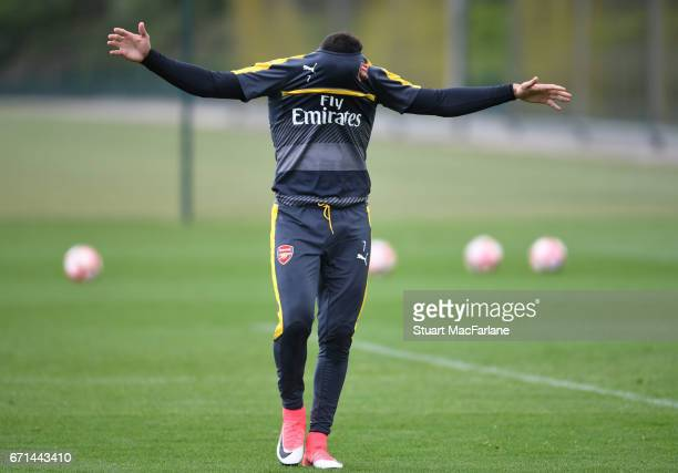Alexis Sanchez of Arsenal during a training session at London Colney on April 22 2017 in St Albans England