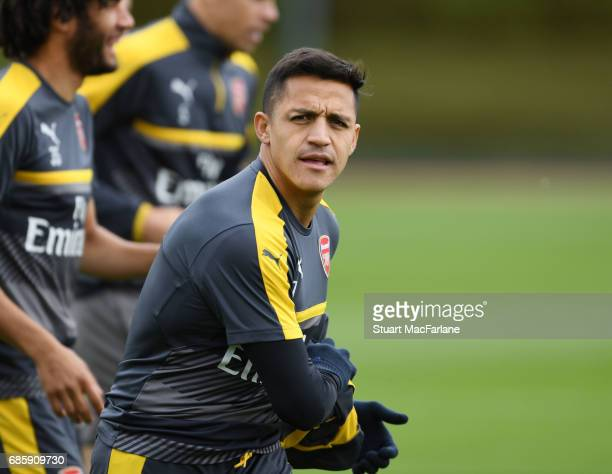 Alexis Sanchez of Arsenal during a training session at London Colney on May 20 2017 in St Albans England