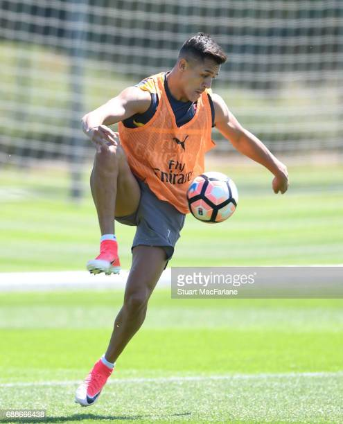 Alexis Sanchez of Arsenal during a training session at London Colney on May 26 2017 in St Albans England