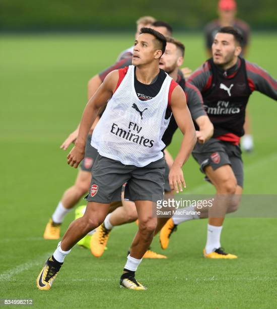 Alexis Sanchez of Arsenal during a training session at London Colney on August 18 2017 in St Albans England