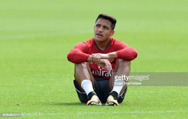 Alexis Sanchez of Arsenal during a training session at London Colney on August 26 2017 in St Albans England