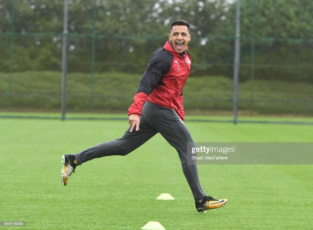 Alexis Sanchez of Arsenal during a training session at London Colney on September 8, 2017 in St Albans, England.