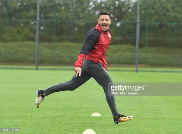 Alexis Sanchez of Arsenal during a training session at London Colney on September 8 2017 in St Albans England