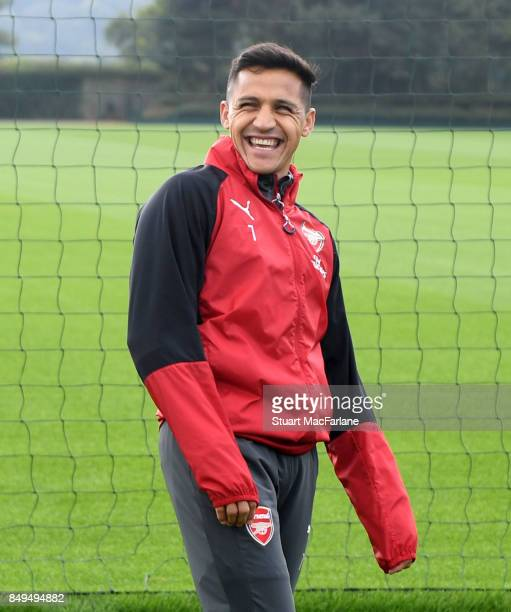 Alexis Sanchez of Arsenal during a training session at London Colney on September 19 2017 in St Albans England