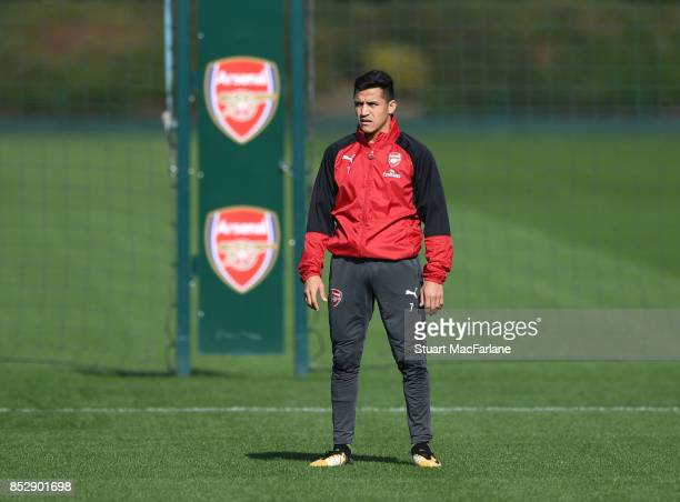 Alexis Sanchez of Arsenal during a training session at London Colney on September 24 2017 in St Albans England