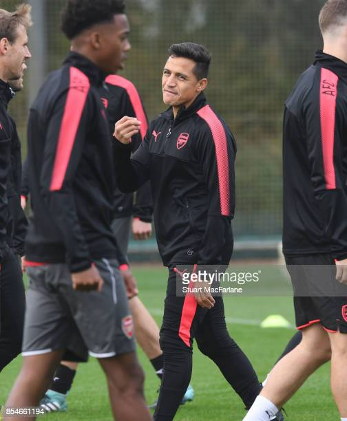Alexis Sanchez of Arsenal during a training session at London Colney on September 27 2017 in St Albans England