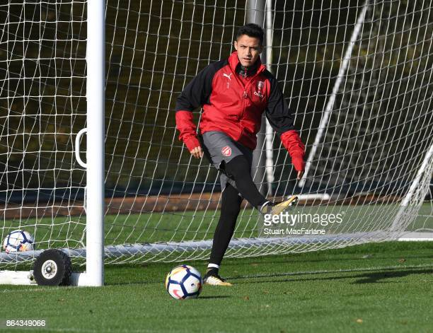 Alexis Sanchez of Arsenal during a training session at London Colney on October 21 2017 in St Albans England