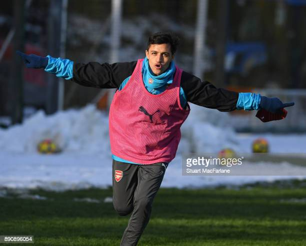 Alexis Sanchez of Arsenal during a training session at London Colney on December 12 2017 in St Albans England