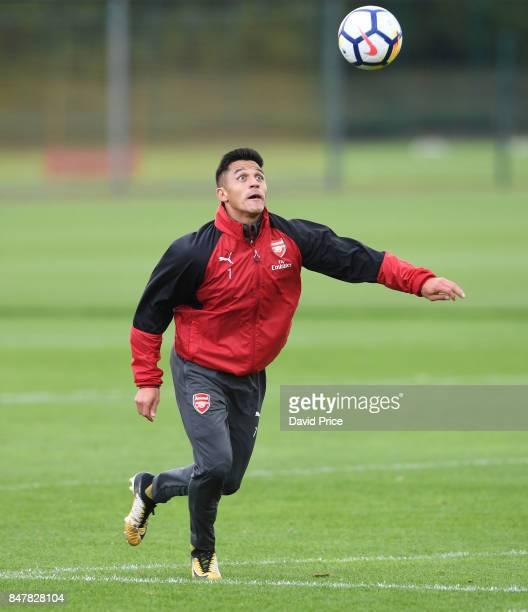 Alexis Sanchez of Arsenal during Arsenal 1st team training session at London Colney on September 16 2017 in St Albans England