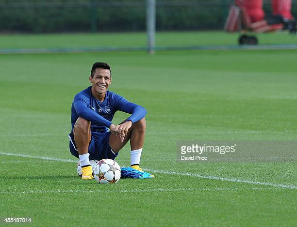 Alexis Sanchez of Arsenal during Arsenal Training Session at London Colney on September 15 2014 in St Albans England