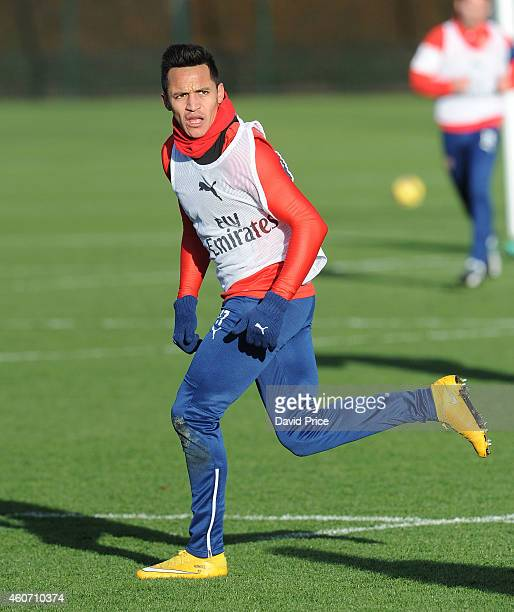 Alexis Sanchez of Arsenal during the Arsenal Training Session at London Colney on December 20 2014 in St Albans England