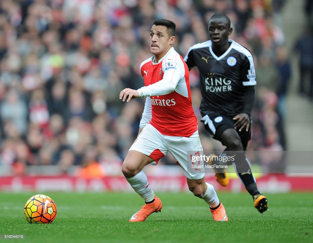 Alexis Sanchez of Arsenal during the Barclays Premier League match between Arsenal and Leicester City at Emirates Stadium on February 14, 2016 in London, England.