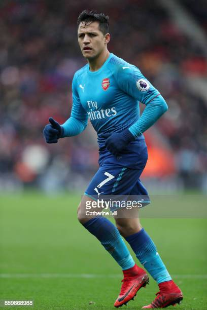 Alexis Sanchez of Arsenal during the Premier League match between Southampton and Arsenal at St Mary's Stadium on December 10 2017 in Southampton...