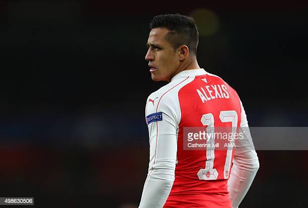 Alexis Sanchez of Arsenal during the UEFA Champions League match between Arsenal and Dinamo Zagreb at the Emirates Stadium on November 24 2015 in...