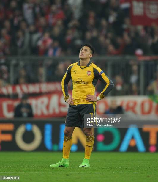 Alexis Sanchez of Arsenal during the UEFA Champions League Round of 16 first leg match between FC Bayern Muenchen and Arsenal FC at Allianz Arena on...