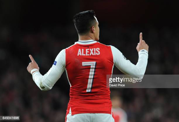 Alexis Sanchez of Arsenal during the UEFA Champions League Round of 16 second leg match between Arsenal FC and FC Bayern Muenchen at Emirates Stadium...