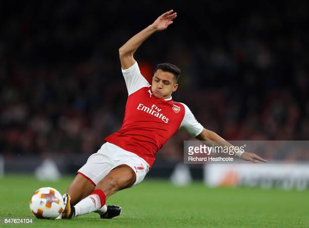 Alexis Sanchez of Arsenal during the UEFA Europa League group H match between Arsenal FC and 1 FC Koeln at Emirates Stadium on September 14 2017 in...